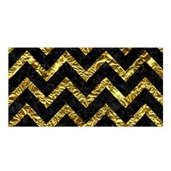 Chevron9 Black Marble & Gold Foil Satin Shawl