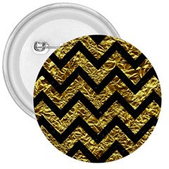 Chevron9 Black Marble & Gold Foil (r) 3  Buttons