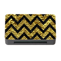 Chevron9 Black Marble & Gold Foil (r) Memory Card Reader With Cf