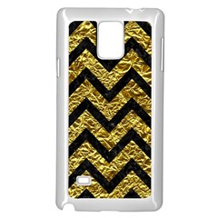 Chevron9 Black Marble & Gold Foil (r) Samsung Galaxy Note 4 Case (white)