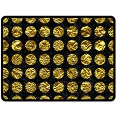 Circles1 Black Marble & Gold Foil Fleece Blanket (large)