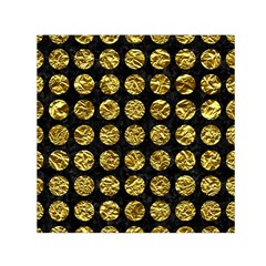 Circles1 Black Marble & Gold Foil Small Satin Scarf (square)
