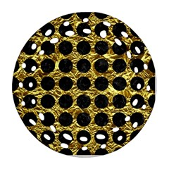 Circles1 Black Marble & Gold Foil (r) Ornament (round Filigree)