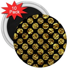 Circles2 Black Marble & Gold Foil 3  Magnets (10 Pack)