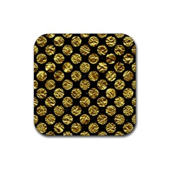 Circles2 Black Marble & Gold Foil Rubber Square Coaster (4 Pack)
