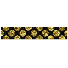 Circles2 Black Marble & Gold Foil Flano Scarf (large)