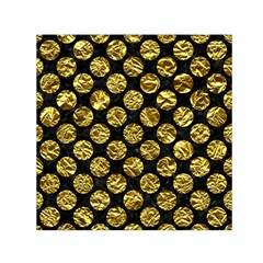 Circles2 Black Marble & Gold Foil Small Satin Scarf (square)