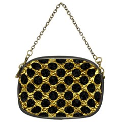 Circles2 Black Marble & Gold Foil (r) Chain Purses (one Side)