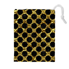 Circles2 Black Marble & Gold Foil (r) Drawstring Pouches (extra Large)
