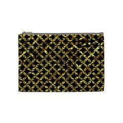 Circles3 Black Marble & Gold Foil Cosmetic Bag (medium)