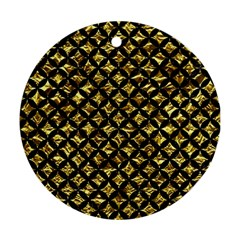 Circles3 Black Marble & Gold Foil (r) Round Ornament (two Sides)