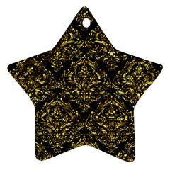 Damask1 Black Marble & Gold Foil Ornament (star)