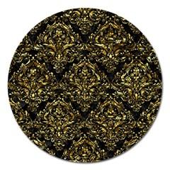 Damask1 Black Marble & Gold Foil Magnet 5  (round)