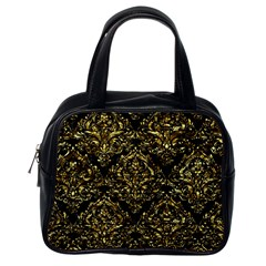 Damask1 Black Marble & Gold Foil Classic Handbags (one Side)