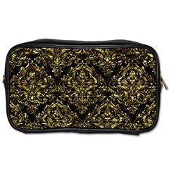 Damask1 Black Marble & Gold Foil Toiletries Bags 2 Side