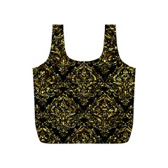 Damask1 Black Marble & Gold Foil Full Print Recycle Bags (s)