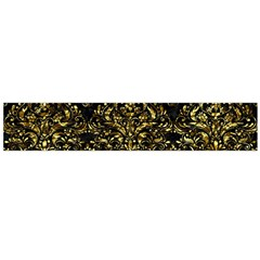 Damask1 Black Marble & Gold Foil Flano Scarf (large)