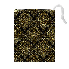 Damask1 Black Marble & Gold Foil Drawstring Pouches (extra Large)