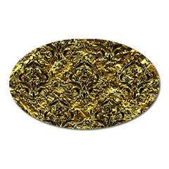Damask1 Black Marble & Gold Foil (r) Oval Magnet