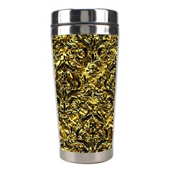 Damask1 Black Marble & Gold Foil (r) Stainless Steel Travel Tumblers