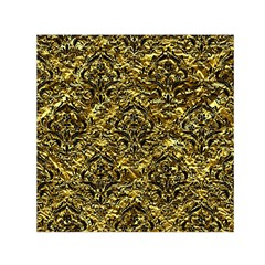 Damask1 Black Marble & Gold Foil (r) Small Satin Scarf (square)