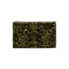 Damask2 Black Marble & Gold Foil Cosmetic Bag (small)