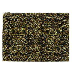Damask2 Black Marble & Gold Foil Cosmetic Bag (xxl)