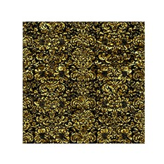 Damask2 Black Marble & Gold Foil Small Satin Scarf (square)