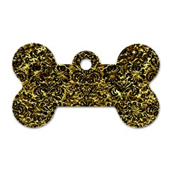 Damask2 Black Marble & Gold Foil (r) Dog Tag Bone (two Sides)