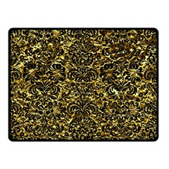 Damask2 Black Marble & Gold Foil (r) Double Sided Fleece Blanket (small)