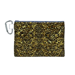 Damask2 Black Marble & Gold Foil (r) Canvas Cosmetic Bag (m)
