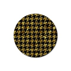 Houndstooth1 Black Marble & Gold Foil Rubber Round Coaster (4 Pack)