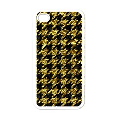 Houndstooth1 Black Marble & Gold Foil Apple Iphone 4 Case (white)