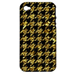 Houndstooth1 Black Marble & Gold Foil Apple Iphone 4/4s Hardshell Case (pc+silicone)