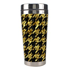 Houndstooth1 Black Marble & Gold Foil Stainless Steel Travel Tumblers