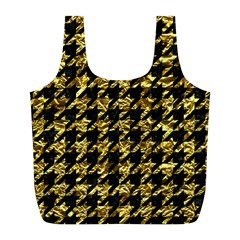 Houndstooth1 Black Marble & Gold Foil Full Print Recycle Bags (l)