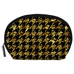 Houndstooth1 Black Marble & Gold Foil Accessory Pouches (large)