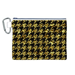 Houndstooth1 Black Marble & Gold Foil Canvas Cosmetic Bag (l)