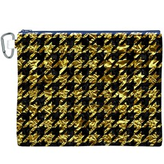 Houndstooth1 Black Marble & Gold Foil Canvas Cosmetic Bag (xxxl)