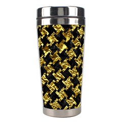 Houndstooth2 Black Marble & Gold Foil Stainless Steel Travel Tumblers