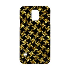 Houndstooth2 Black Marble & Gold Foil Samsung Galaxy S5 Hardshell Case