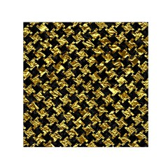 Houndstooth2 Black Marble & Gold Foil Small Satin Scarf (square)