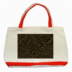 Hexagon1 Black Marble & Gold Foil Classic Tote Bag (red)