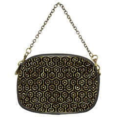 Hexagon1 Black Marble & Gold Foil Chain Purses (two Sides)