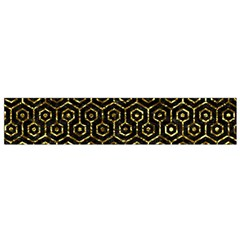 Hexagon1 Black Marble & Gold Foil Flano Scarf (small)