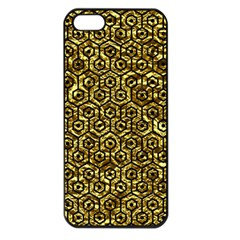 Hexagon1 Black Marble & Gold Foil (r) Apple Iphone 5 Seamless Case (black)