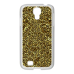 Hexagon1 Black Marble & Gold Foil (r) Samsung Galaxy S4 I9500/ I9505 Case (white)