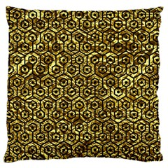 Hexagon1 Black Marble & Gold Foil (r) Large Flano Cushion Case (one Side)
