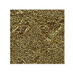 Hexagon1 Black Marble & Gold Foil (r) Small Satin Scarf (square)