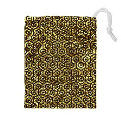 Hexagon1 Black Marble & Gold Foil (r) Drawstring Pouches (extra Large)